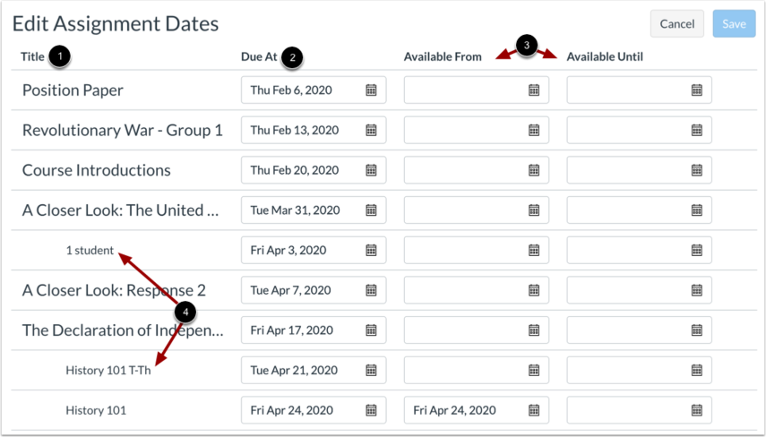 View Edit Assignment Dates