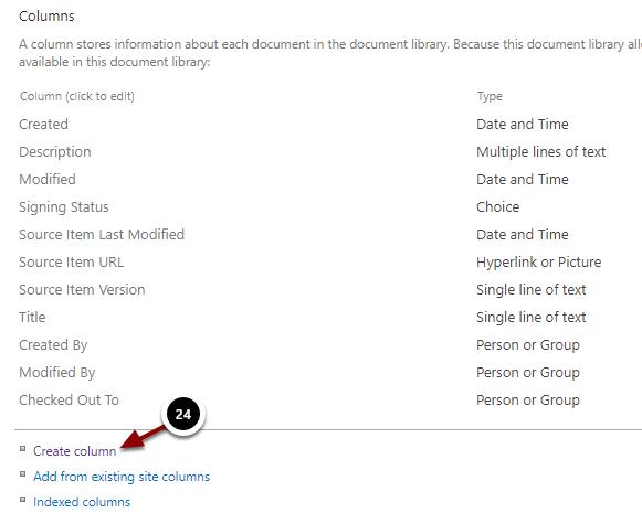 Document Library Settings - Google Chrome