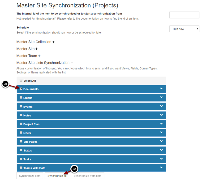 Master Site Synchronization (Projects) - Google Chrome