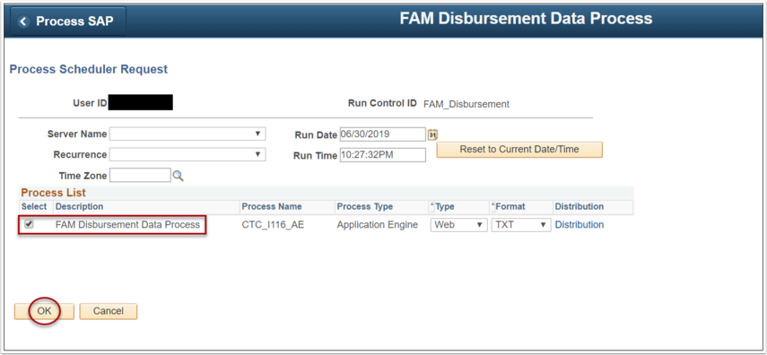Image of PS process scheduler request page
