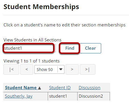 Find specific students.