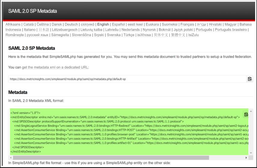 SAML 2.0 SP Metadata - Google Chrome