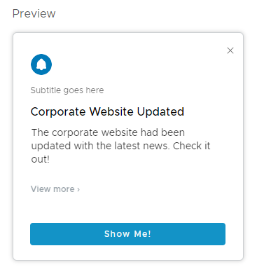 Preview Notification Card in Workspace ONE Hub Services