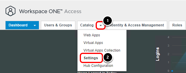 Settings in Workspace ONE Access Admin console