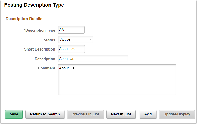 Posting Description Types Page Example