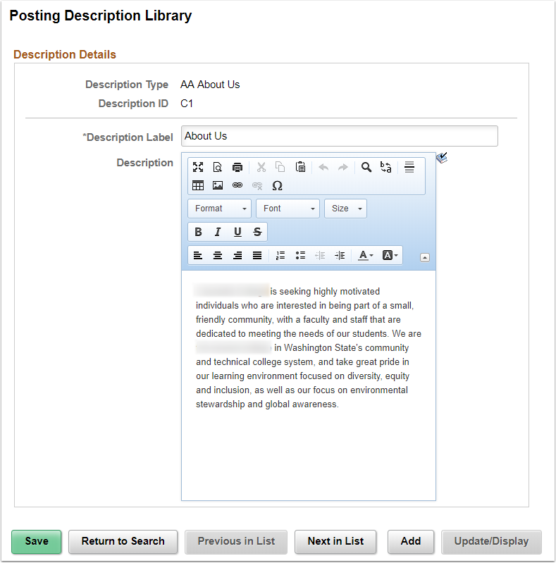Posting Description Library Page Example