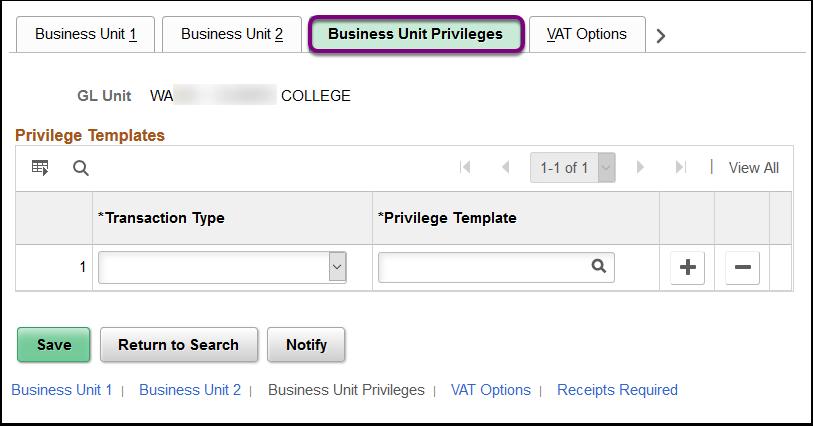 Business Unit Privileges tab