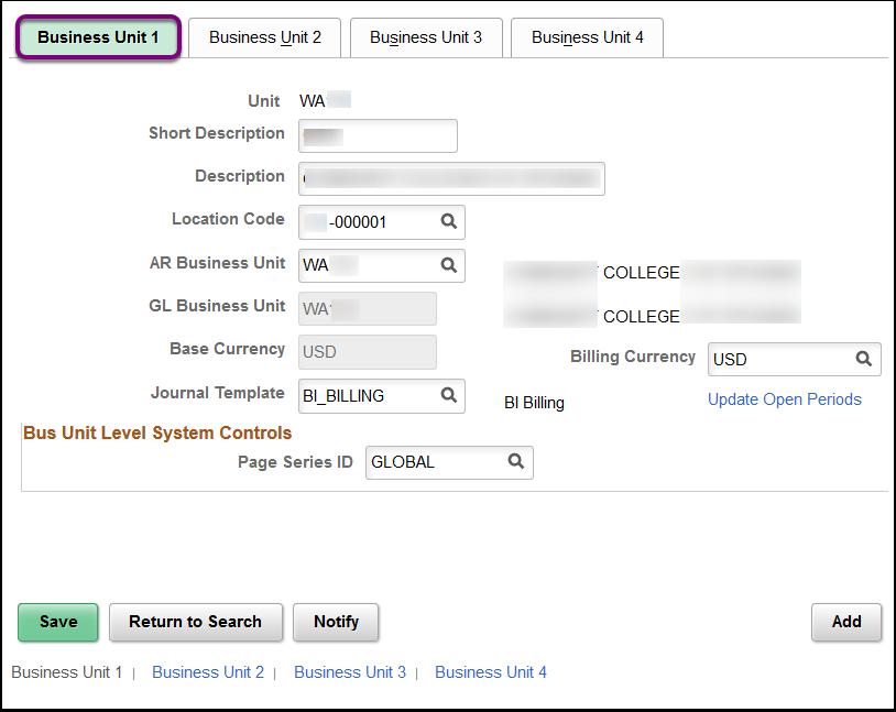 Business Unit 1 tab