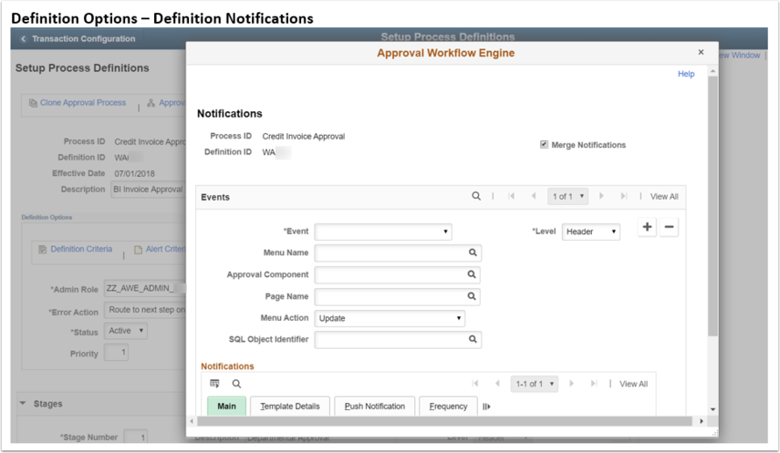 Definition Options Definition Notification page