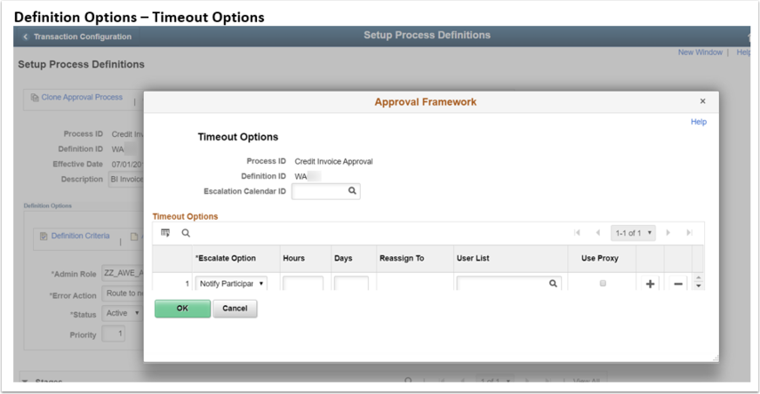 Definitiion Options Timeout Options page