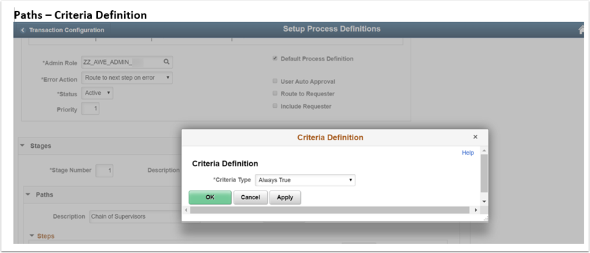 Paths Criteria Definition page