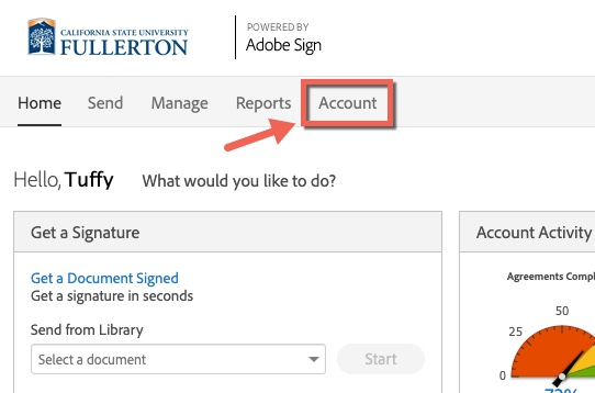 Arrow pointing to Account tab