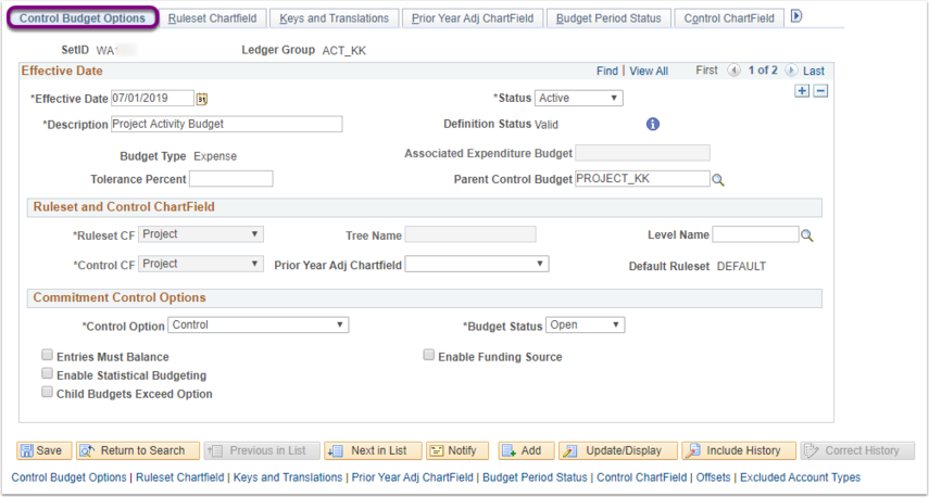 Control Budget Options Tab of Budget Definitions Page Example