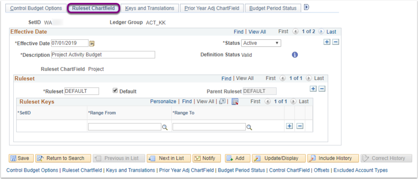 Ruleset Chartfield Tab of Budget Definitions Page Example