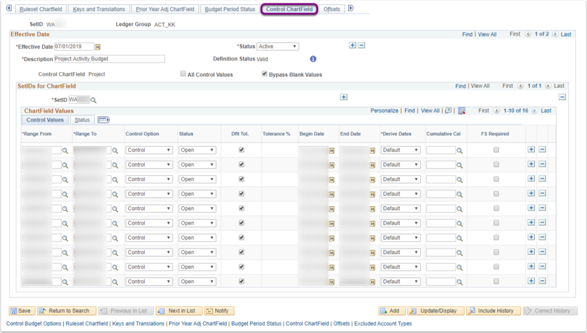 Control ChartField tab on Budget Definitions Page Example