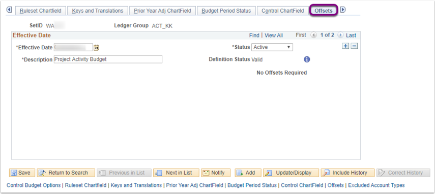 Offests Tab on Budget Definitions Page Example