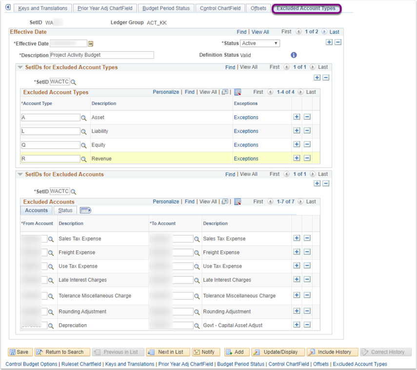 Excluded Account Types Tab on Budget Definitions Page Example