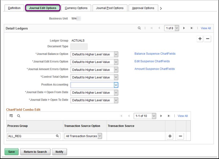 Journal Edit Options tab