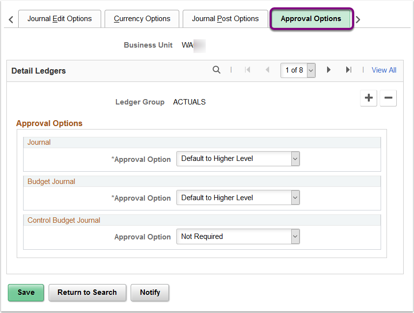 Approval Options tab