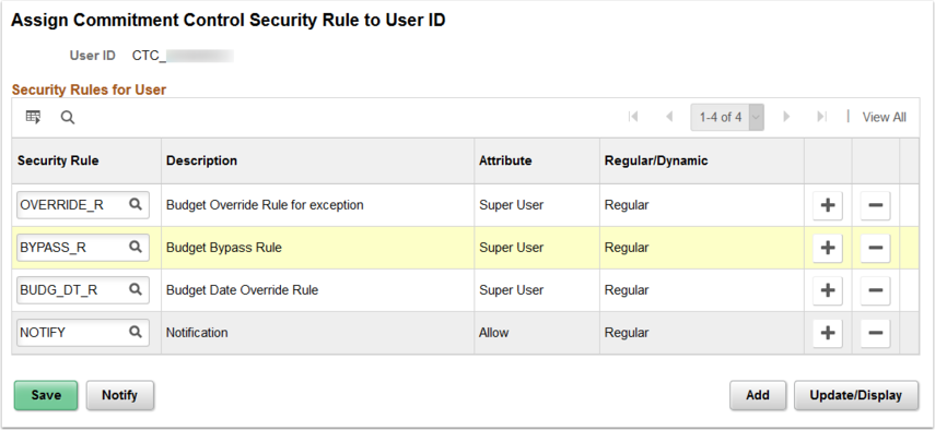 Assign Commitment Control Security Rule to User ID page