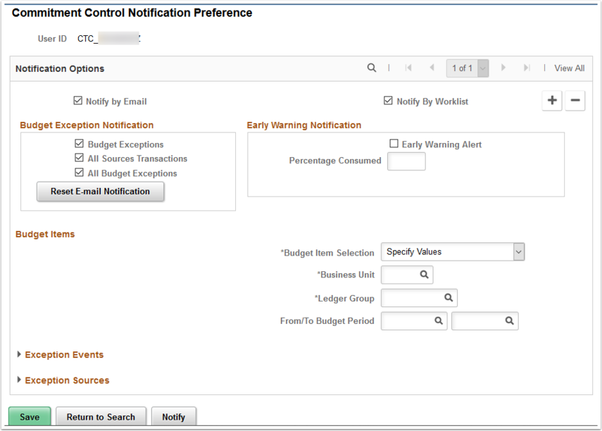 Commitment Control Notification Preference page
