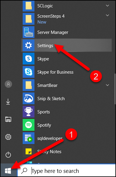 Click on Windows Start menu and select Settings