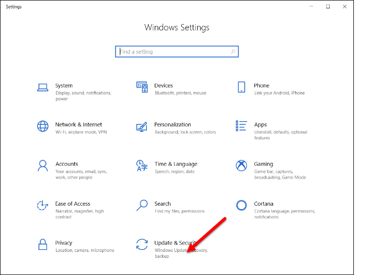 Windows Settings Window with arrow at Update & Security