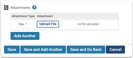Upload attachments to support a record in F180
