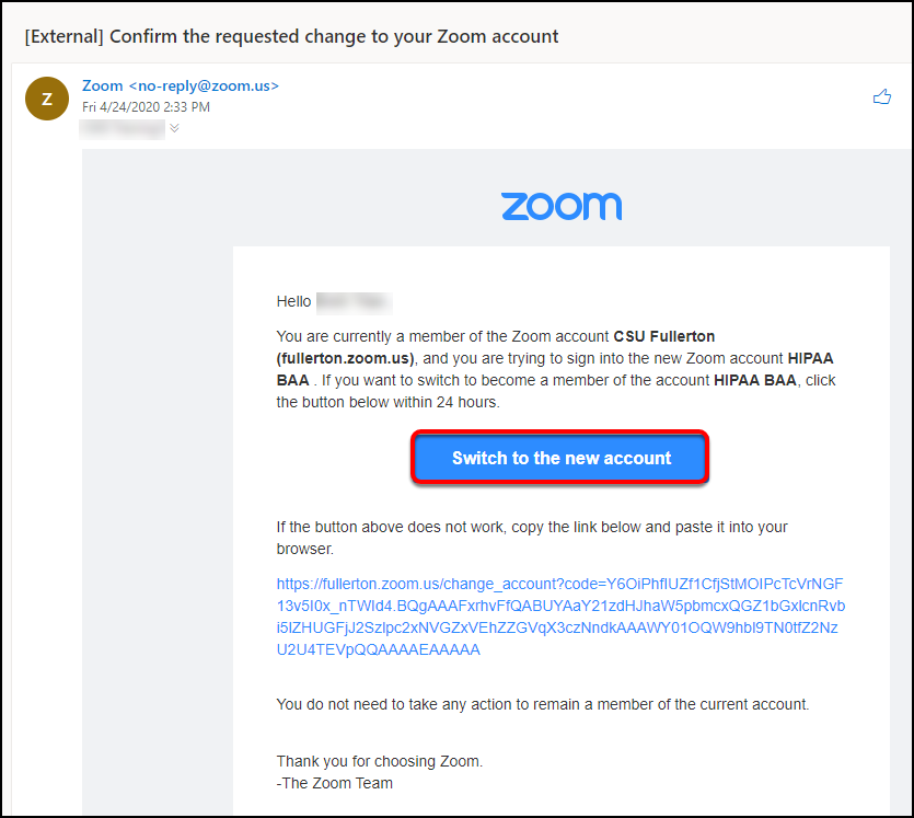 zoom switch confirmation email