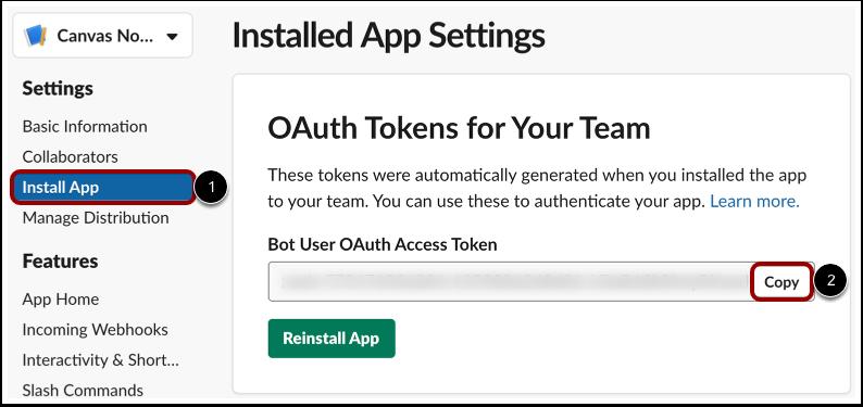 Copy Slack Bot Access Token