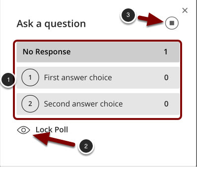 Image of a poll in Blackboard Collaborate showing the following options: 1.Response counts will appear here for each option.2.To prevent participants from changing their answers, click the Lock Poll button.3.To end the poll, click the End Polling button in the upper right hand corner.