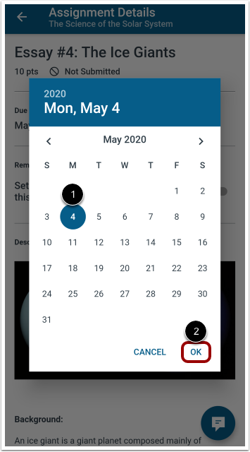 Select Reminder Date