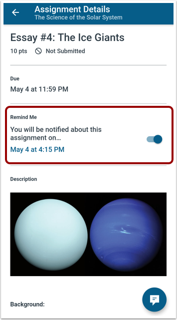 View Reminder on Details Page