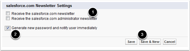 Salesforce.com Newsletter Settings and Generate Password w/ Notification