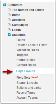 Go to one of the following areas to edit the page layouts of Accounts, Contacts, Activities or other Standard objects in the system