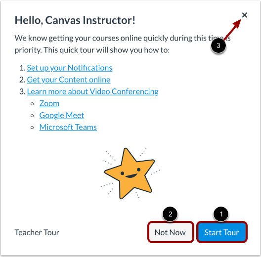 Start Canvas Welcome Tour