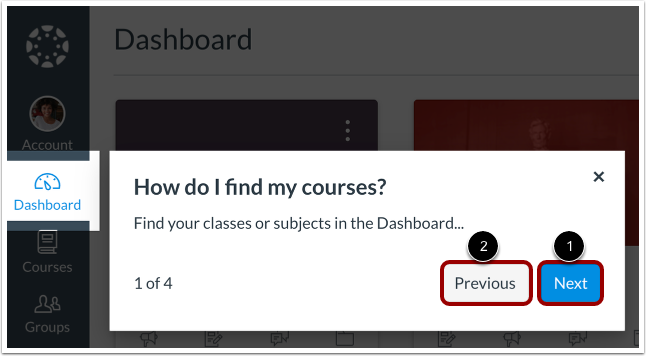 Find Courses in Dashboard