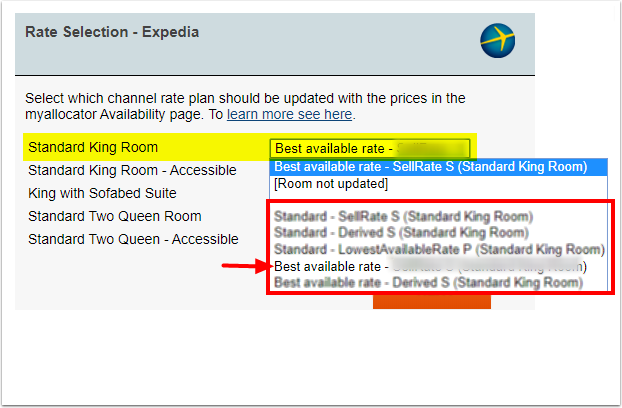 What rate plan selection should I choose when mapping Expedia? – Myallocator - Google Chrome