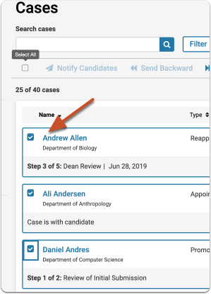 Select multiple candidates on the Case List