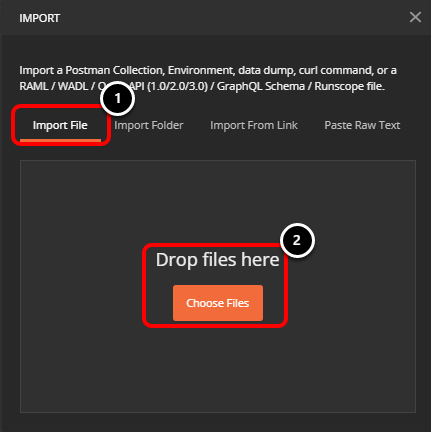 Select files to import to Postman