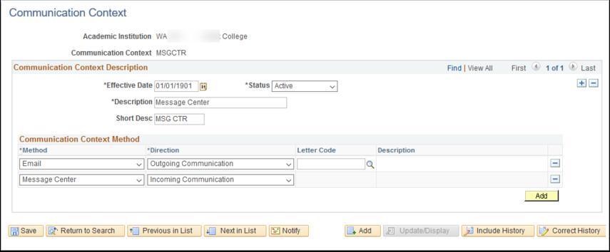 Communication Context page