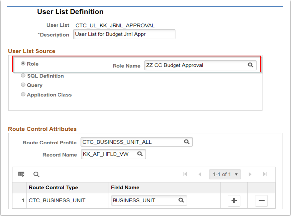 User List Definition page