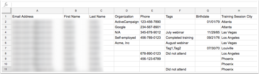 Example of finalized Google Sheet