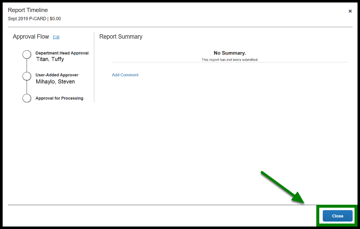Close the Report Timeline window when you are done. Green highlights showing where to find to the Close button.