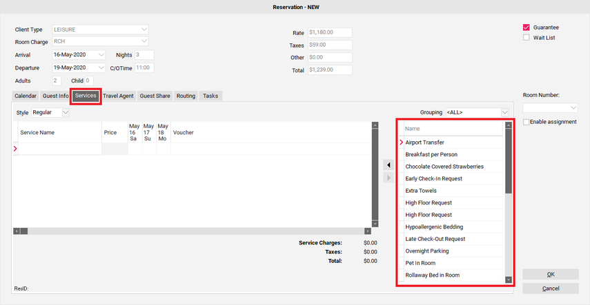 Step 4: Selecting applicable Guest Services (optional)