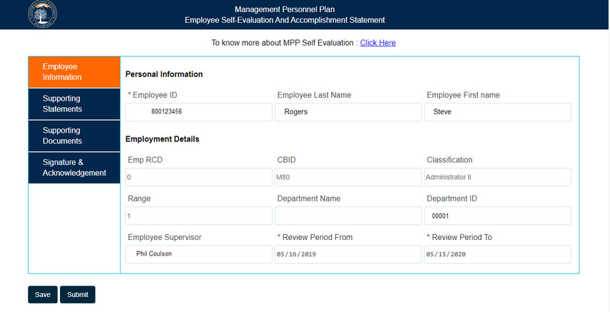 Overview of the Employee Information screen
