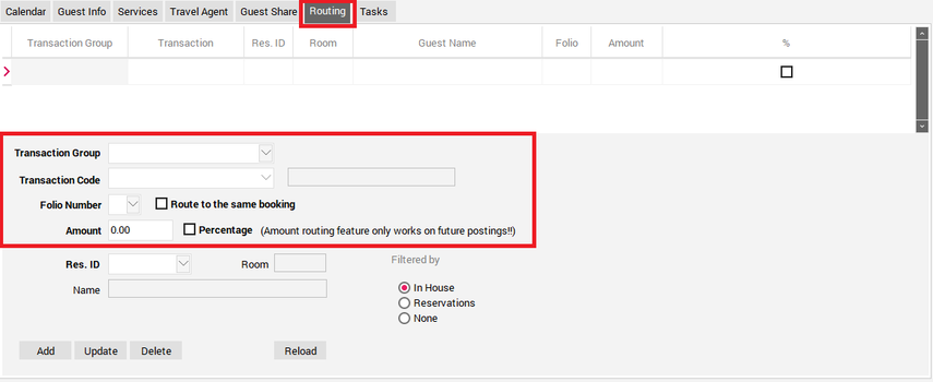 Scenario 1: To setup specific Transaction Codes to transfer to a different Reservation follow these steps: