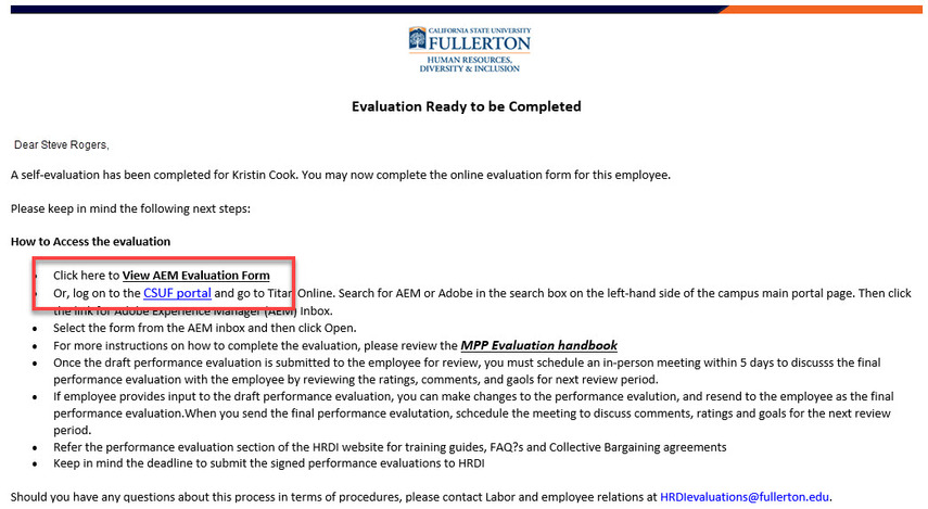 Evaluation email