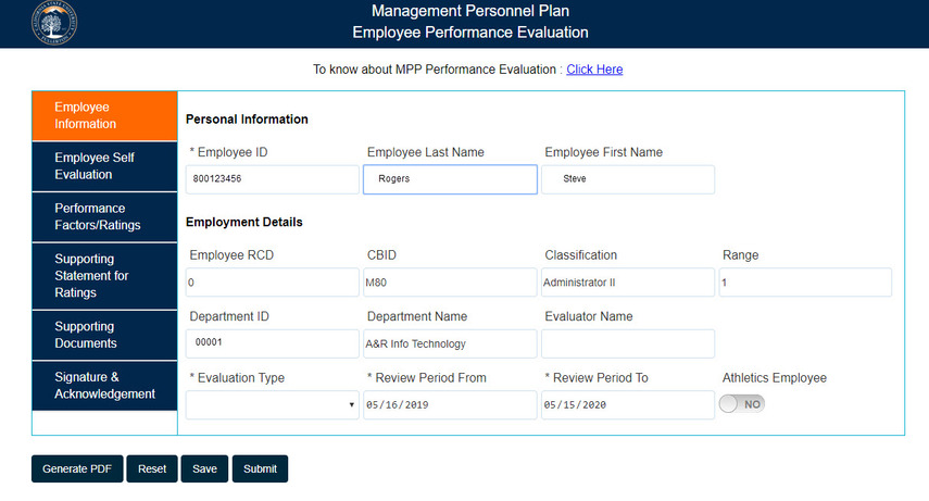 Employee Information overview