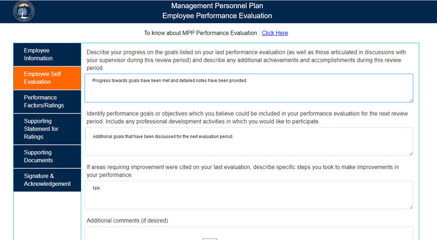 Employee Self Evaluation screen overview